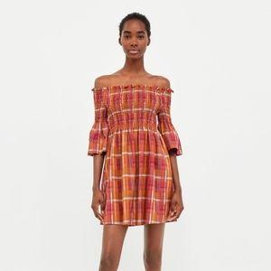 ZARA off the shoulder smocked plaid dress